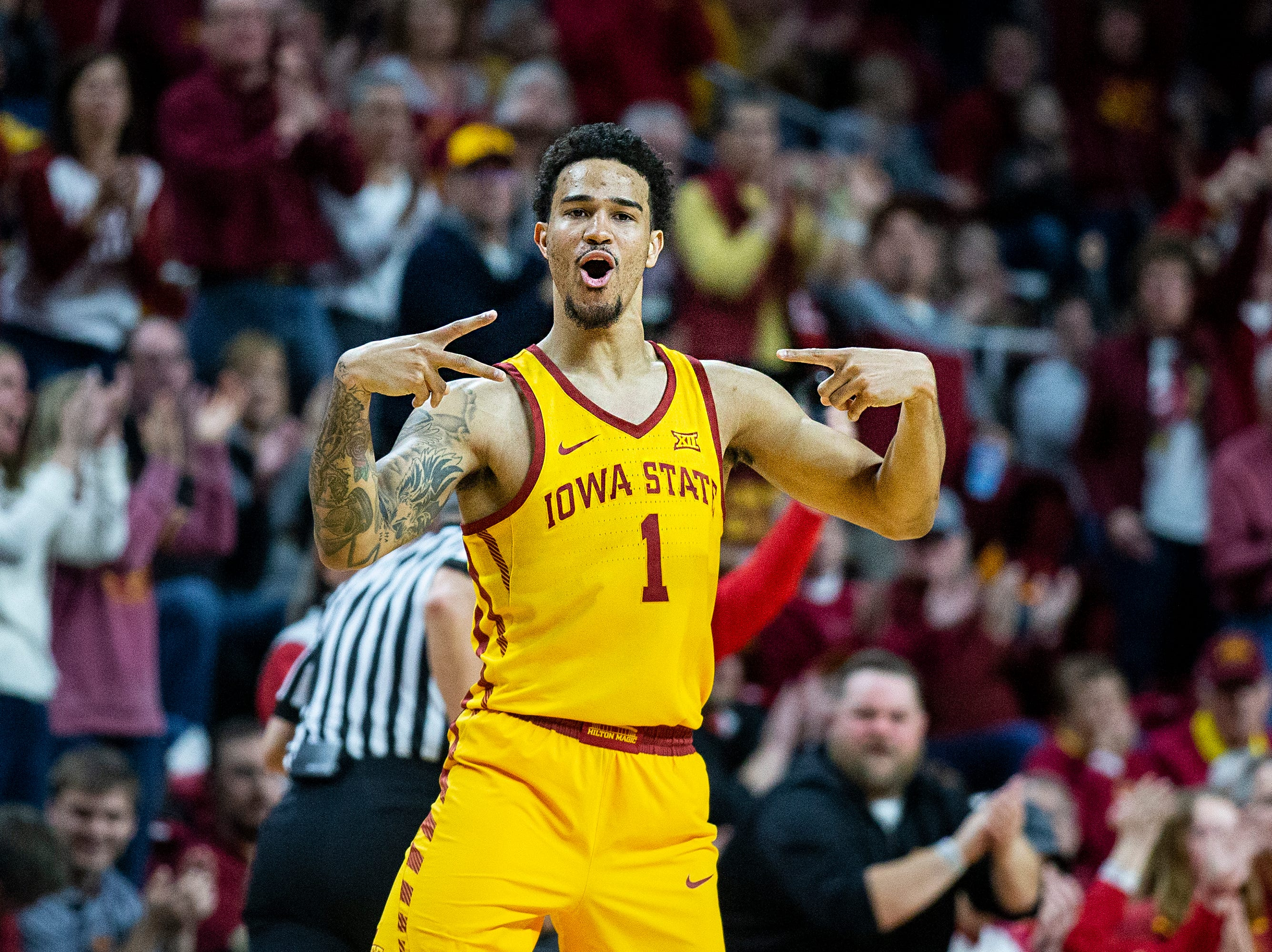 Iowa State's Nick Weiler-Babb celebrates after making a three and giving the Cyclones the lead during the Iowa State men's basketball game against Kansas State on Saturday, Jan. 12, 2019, in Hilton Coliseum. The Cyclones lost to KSU by one point, 58-57.