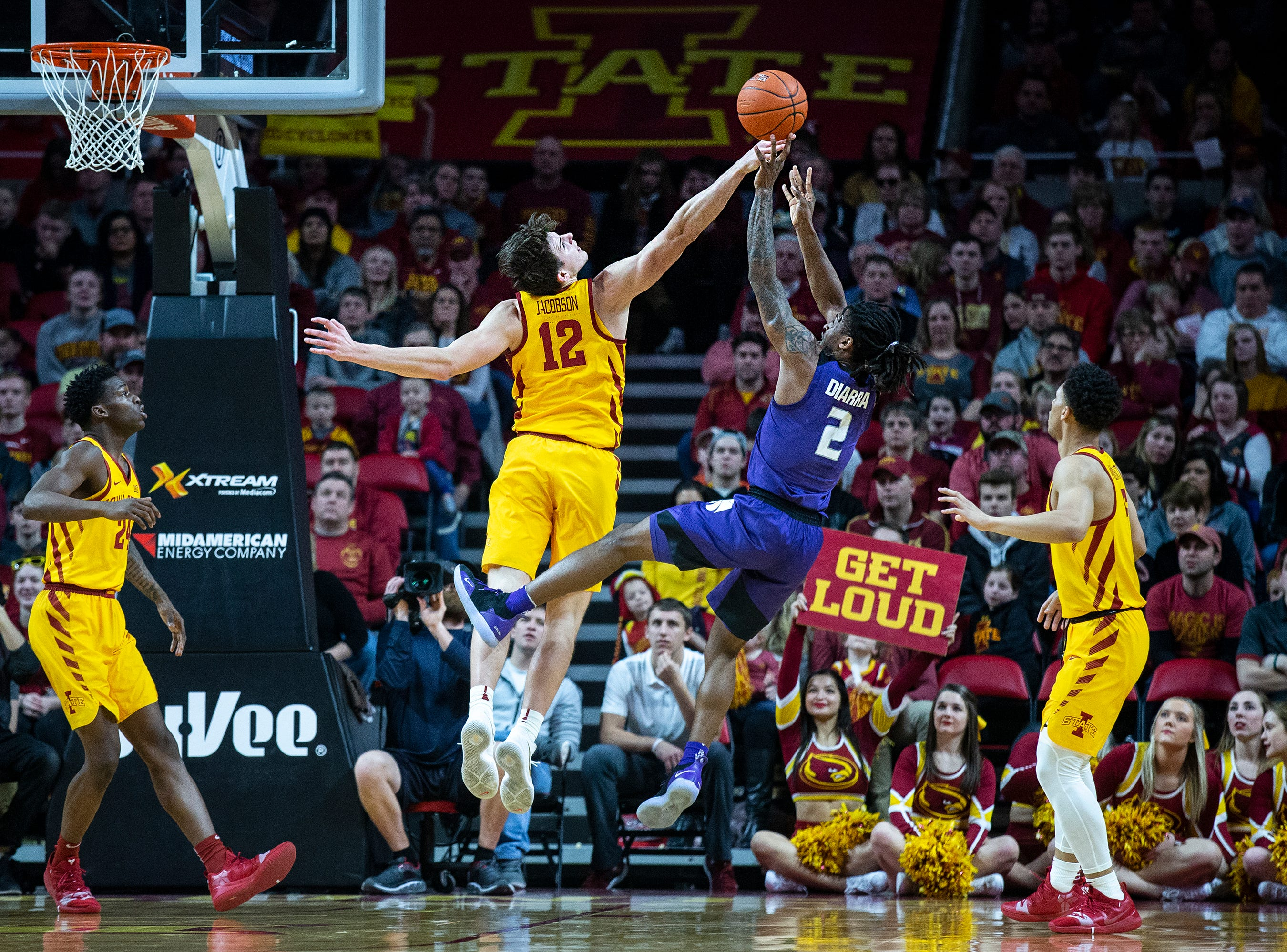 Iowa State's Michael Jacobson defends Kansas State's Cartier Diarra during the Iowa State men's basketball game against Kansas State on Saturday, Jan. 12, 2019, in Hilton Coliseum.