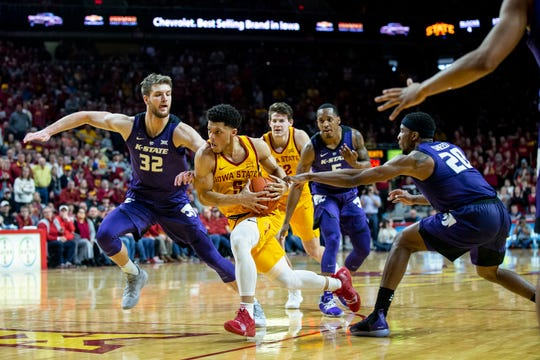 Iowa State's Lindell Wigginton drives to the hoop during the Iowa State men's basketball game against Kansas State on Saturday, Jan. 12, 2019, in Hilton Coliseum. The Cyclones lost to KSU by one point, 58-57.