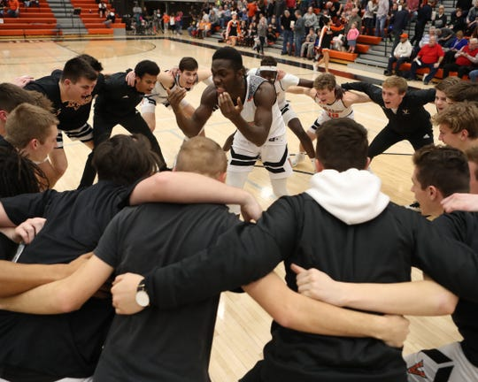 Jan 11, 2018; West Des Moines, IA  USA; The Valley Tigers go through pregame routine before their game with the SE Polk Rams at Valley High School.  Reese Strickland - special to the register
