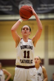 Dowling junior Caitlin Clark attempts a free throw during a girls high school basketball game between the Urbandale J-Hawks and the Dowling Catholic Maroons at Dowling Catholic High School on Jan. 11, 2019 in West Des Moines, Iowa. Clark went on to score 46 points in the game.
