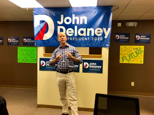 Presidential candidate John Delaney speaks to supporters at the opening of his Des Moines field office Saturday.