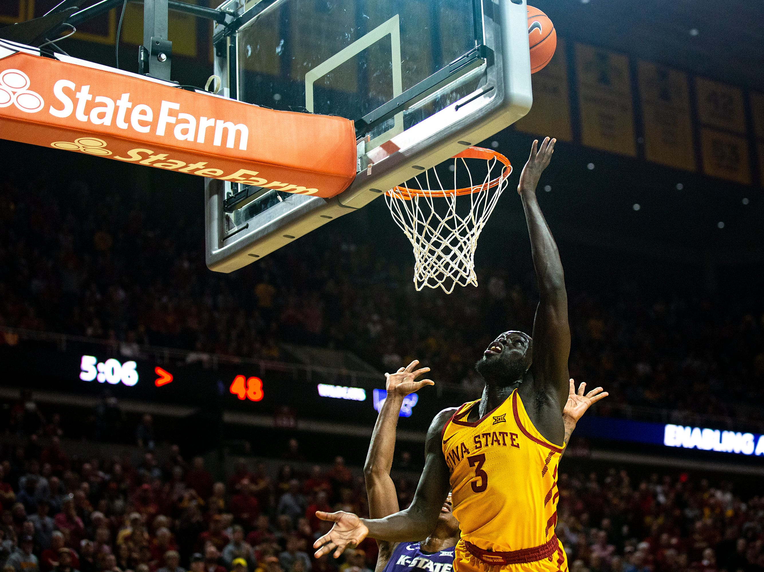 Iowa State's Marial Shayok shoots the ball during the Iowa State men's basketball game against Kansas State on Saturday, Jan. 12, 2019, in Hilton Coliseum. The Cyclones lost to KSU by one point, 58-57.
