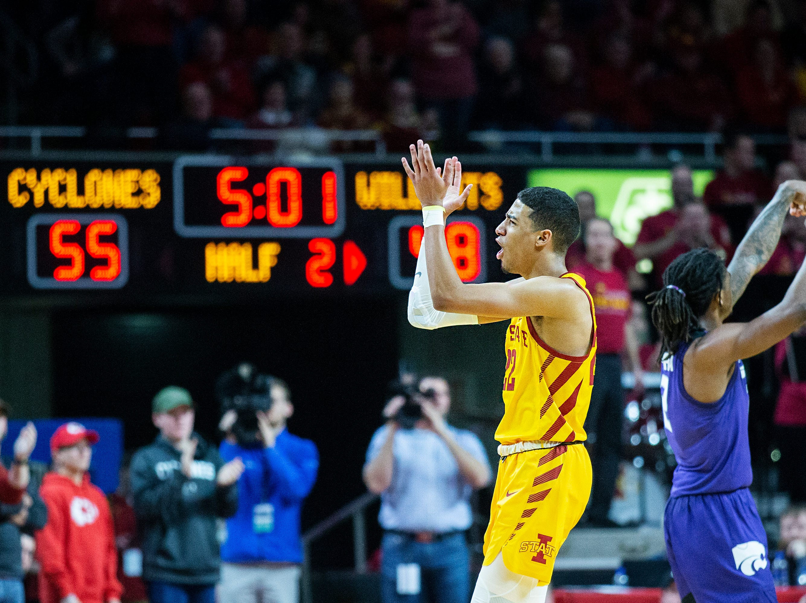 Iowa State's Tyrese Haliburton celebrates after the Cyclones took the lead during the Iowa State men's basketball game against Kansas State on Saturday, Jan. 12, 2019, in Hilton Coliseum. The Cyclones lost to KSU by one point, 58-57.