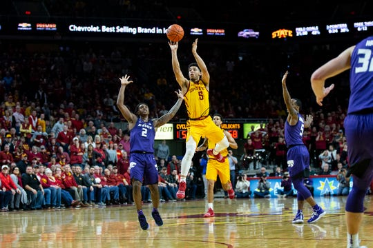 Iowa State's Lindell Wigginton attempts a shot in the final  seconds during the Iowa State men's basketball game against Kansas State on Saturday, Jan. 12, 2019, in Hilton Coliseum. The Cyclones lost to KSU by one point, 58-57.