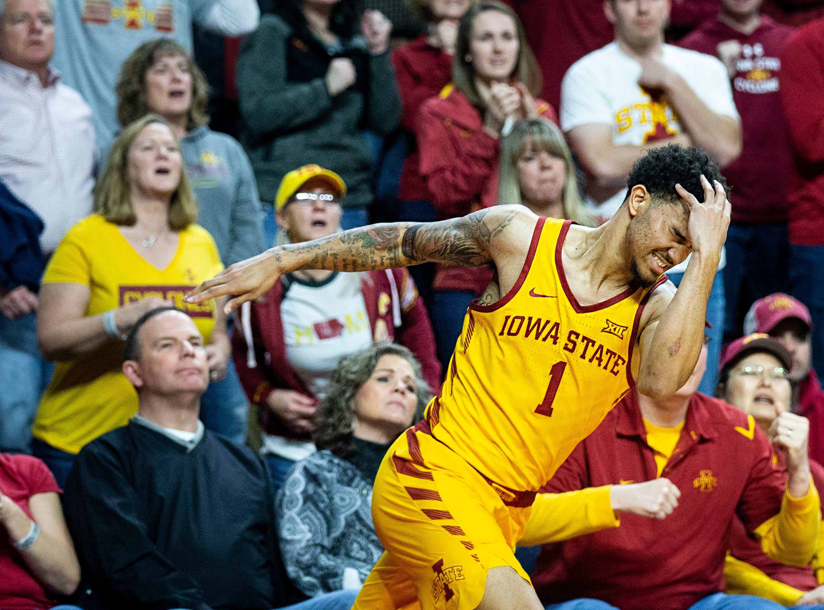 Iowa State's Nick Weiler-Babb reacts to missing a thee-point shot in the final minutes during the Iowa State men's basketball game against Kansas State on Saturday, Jan. 12, 2019, in Hilton Coliseum. The Cyclones lost to KSU by one point, 58-57.