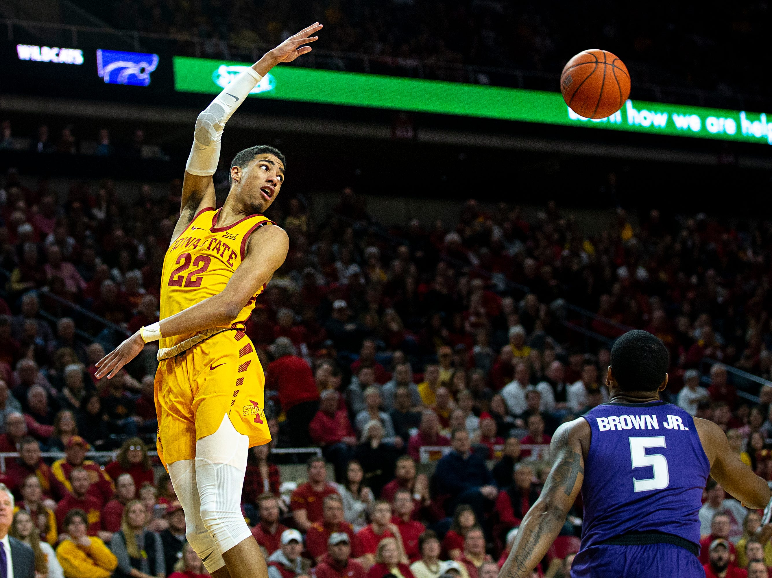 Iowa State's Tyrese Haliburton passes the ball during the Iowa State men's basketball game against Kansas State on Saturday, Jan. 12, 2019, in Hilton Coliseum. The Cyclones lost to KSU by one point, 58-57.