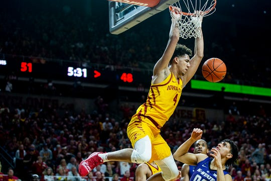 Iowa State's 6-10 sophomore center, George Conditt IV had his ups and downs, but had some good moments in his team's loss to West Virginia.  (Photo: Kelsey Kremer/The Register, via The Des Moines Register.)