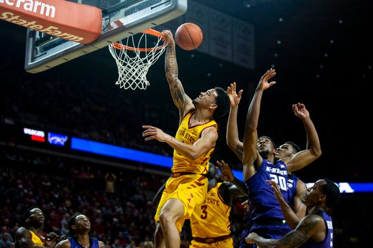 Iowa State's Nick Weiler-Babb tries to get the ball in the hoop during the Iowa State men's basketball game against Kansas State on Saturday, Jan. 12, 2019, in Hilton Coliseum.