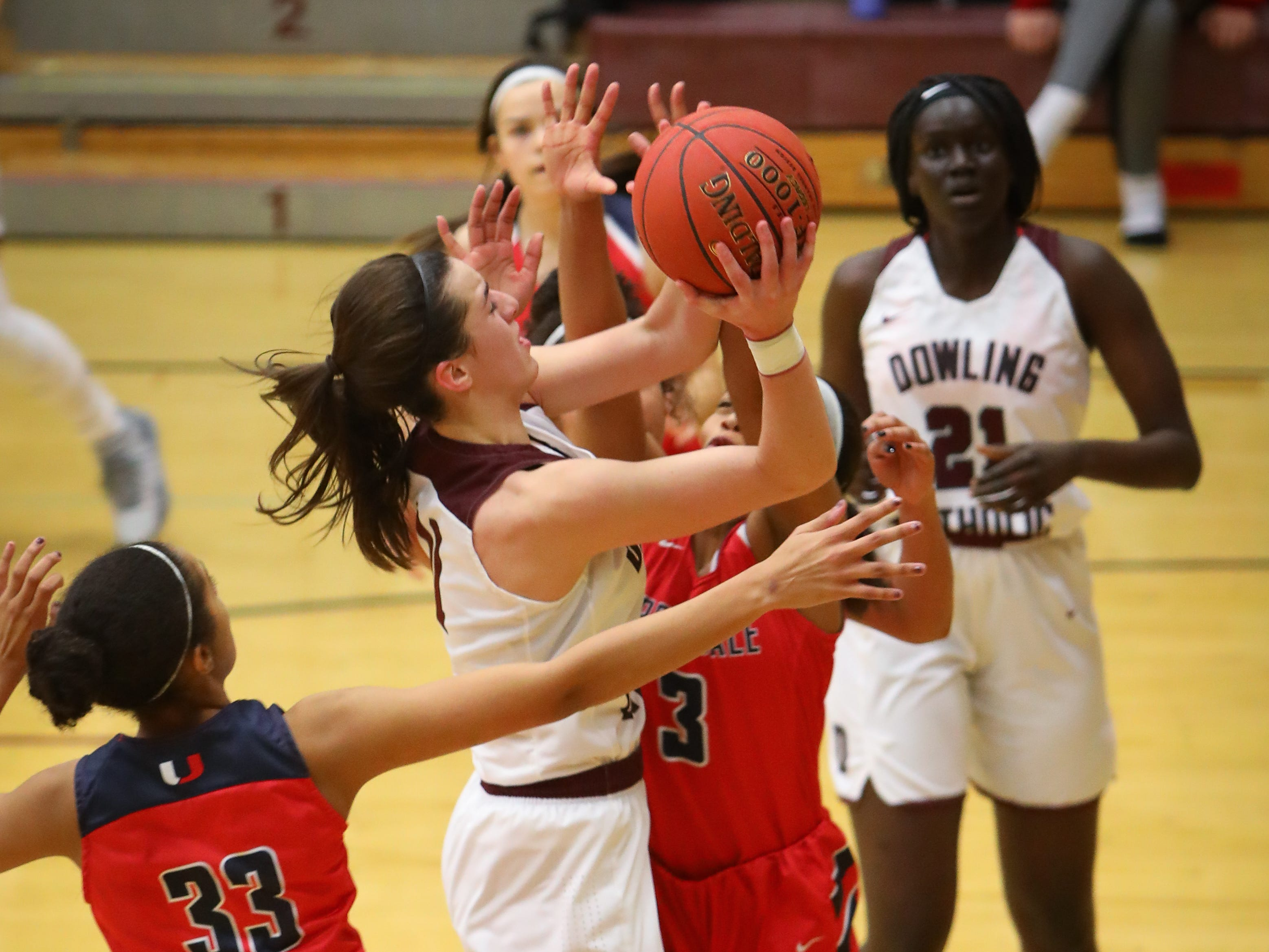 Dowling junior Caitlin Clark goes for a layup during a girls high school basketball game between the Urbandale J-Hawks and the Dowling Catholic Maroons at Dowling Catholic High School on Jan. 11, 2019 in West Des Moines, Iowa. Clark went on to score 46 points in the game.