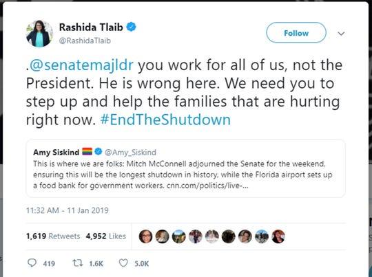 Screen grab  from Rashida Tlaib's verified Twitter account.