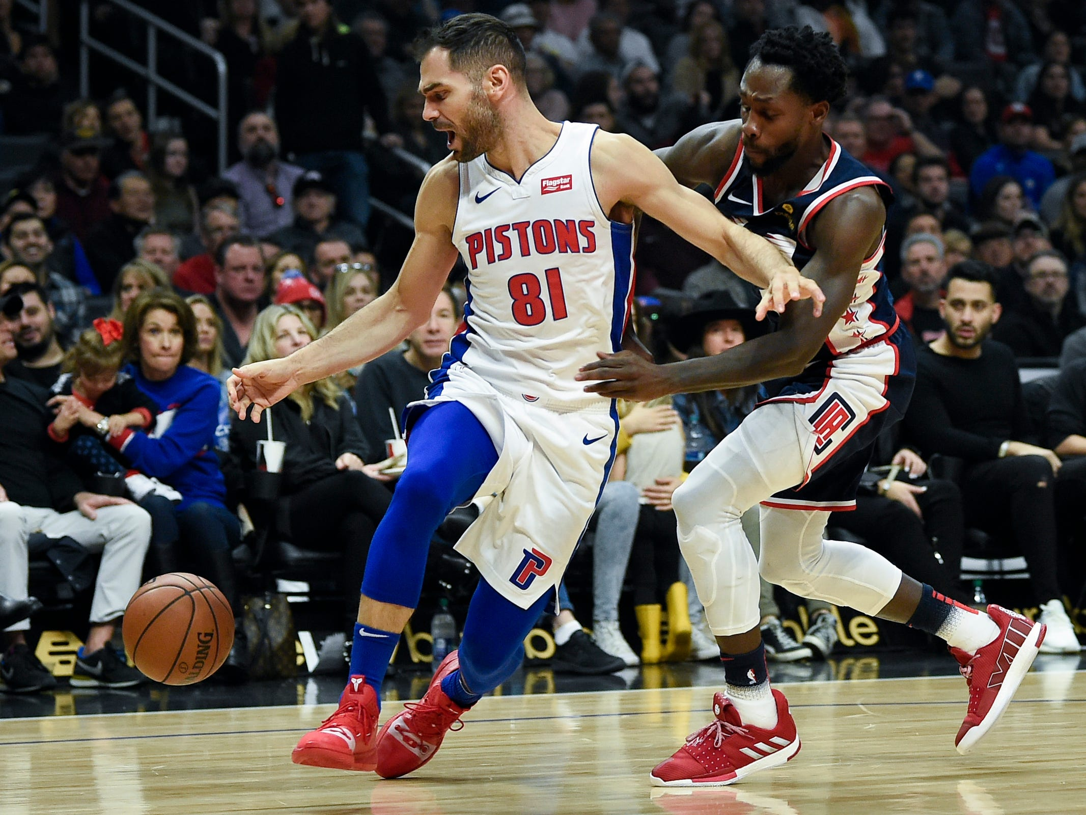 Pistons guard Jose Calderon loses control of the ball while Clippers guard Patrick Beverley defends during the first half on Jan. 12, 2019, in Los Angeles.