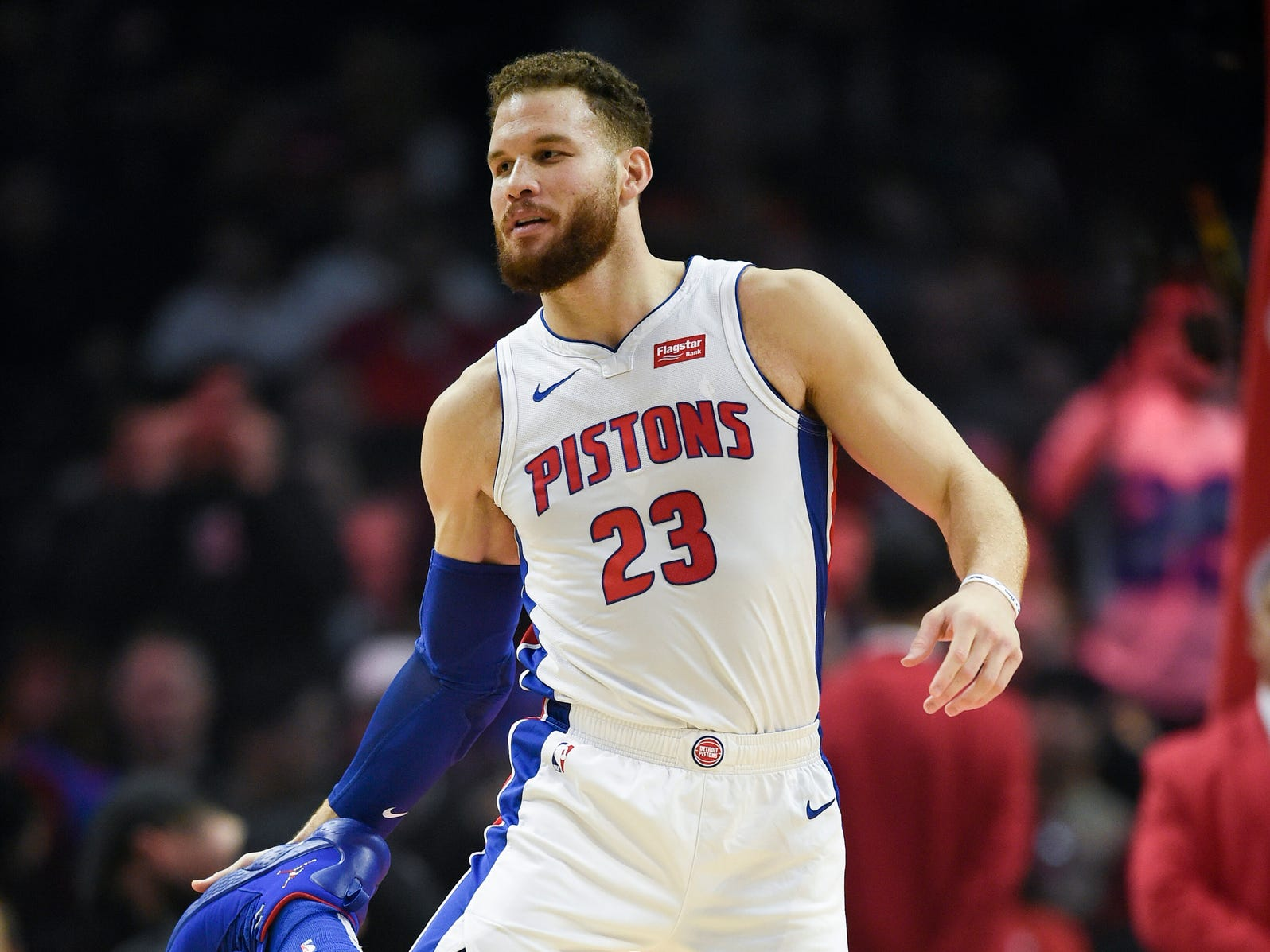 Pistons forward Blake Griffin prepares to take the court prior to the game against the Clippers on Saturday, Jan. 12, 2019, in Los Angeles.