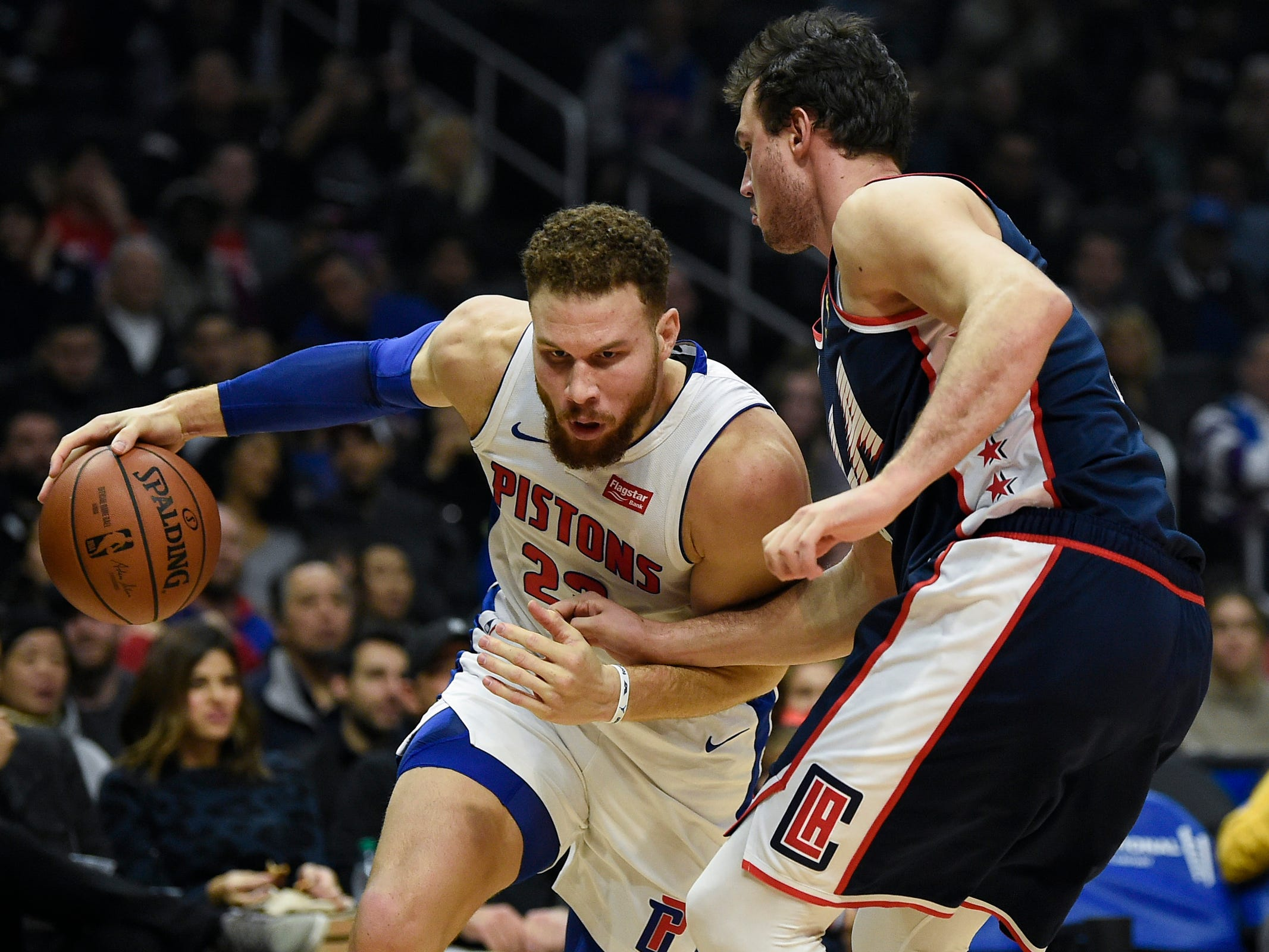 Pistons forward Blake Griffin drives to the basket defended by Clippers forward Danilo Gallinari during the first quarter on Saturday, Jan. 12, 2019, in Los Angeles.