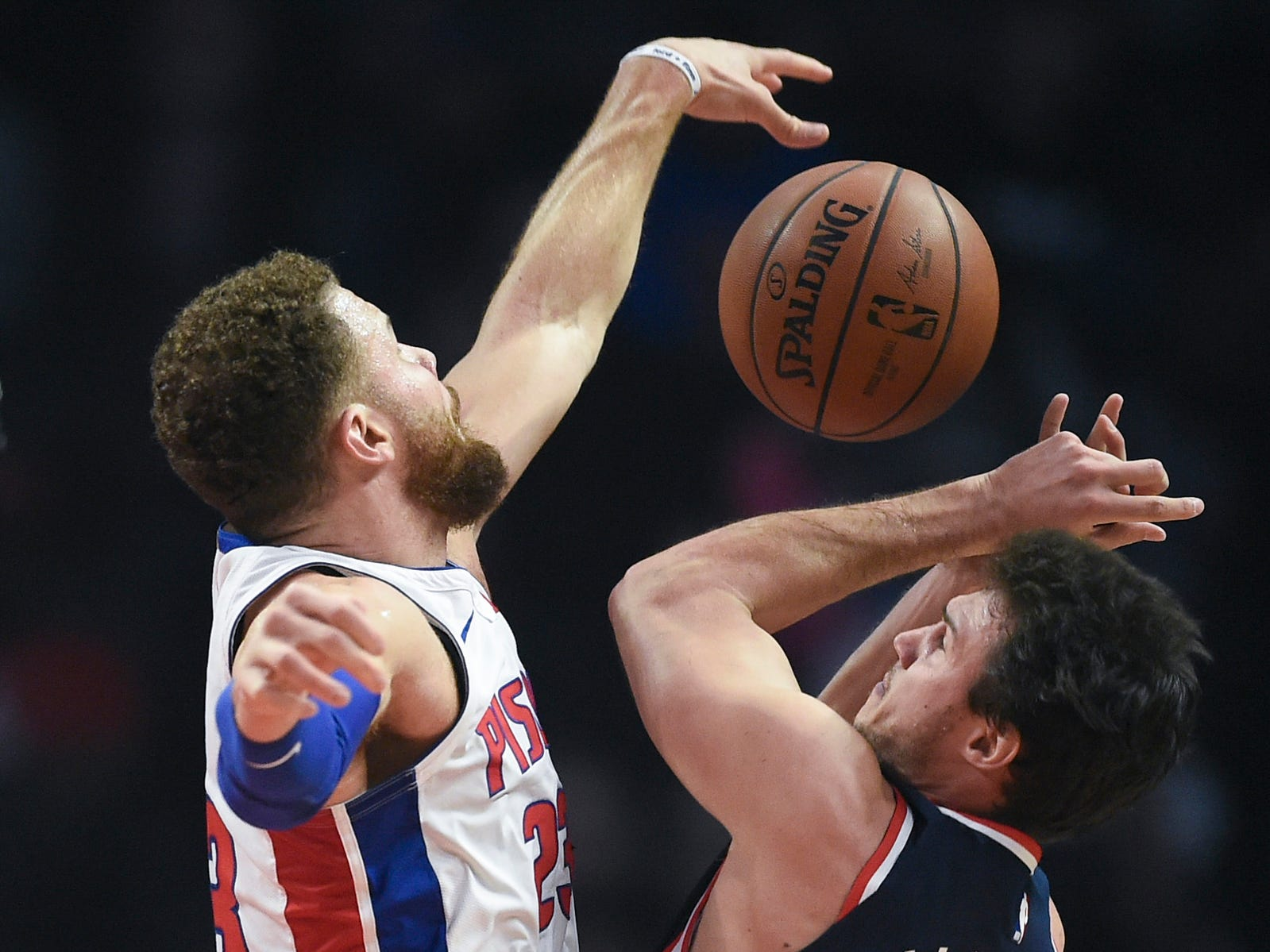 Pistons forward Blake Griffin fouls Clippers forward Danilo Gallinari during the first quarter on Saturday, Jan. 12, 2019, in Los Angeles.