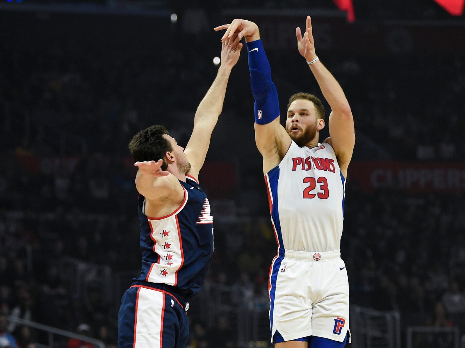 Pistons forward Blake Griffin attempts a shot defended by Clippers forward Danilo Gallinari during the first quarter on Saturday, Jan. 12, 2019, in Los Angeles.