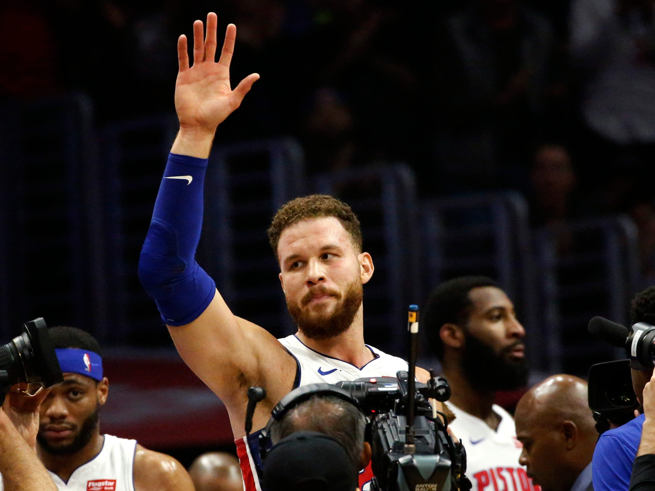 Pistons forward Blake Griffin waves to fans during the first half on Jan. 12, 2019, in Los Angeles.