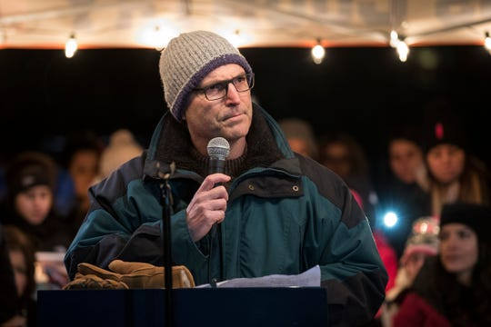Northville mayor Ken Roth speaks during a candlelight vigil for the Abbas family at the Ford Field Park in Northville Friday, Jan. 11, 2019.