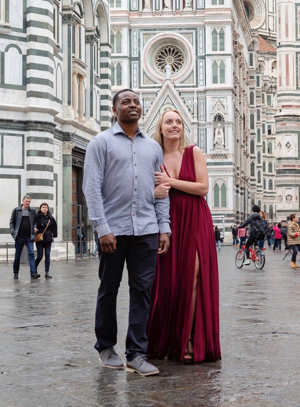 Jharel Cotton, right, and Emma Cotton traveled to Florence, Italy in November 2018 for an early celebration of their first wedding anniversary.