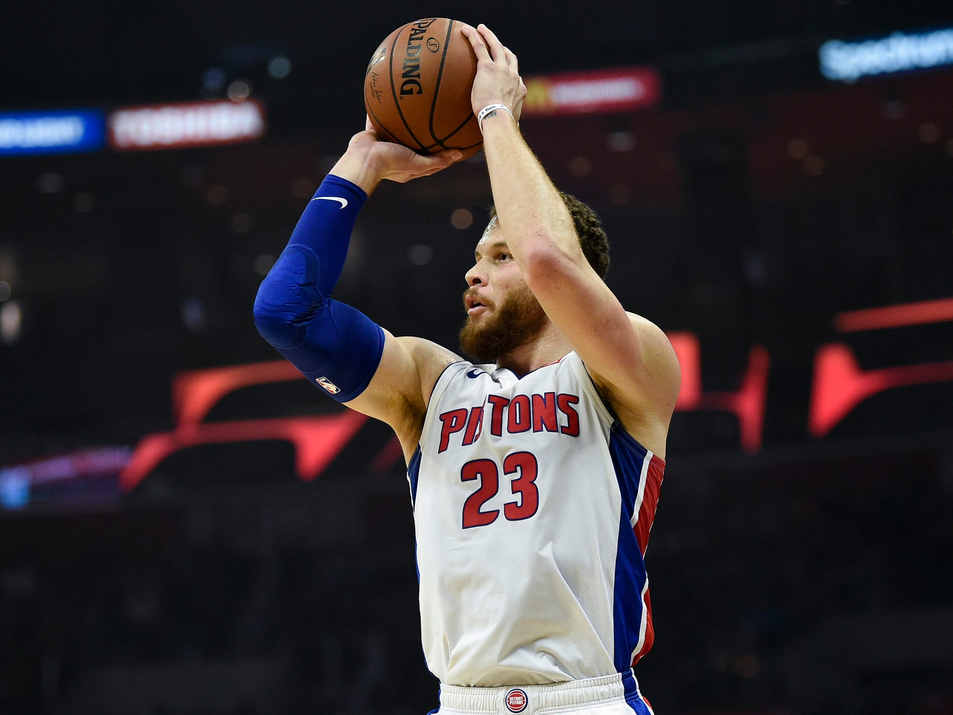 Pistons forward Blake Griffin attempts a shot against the Clippers during the first quarter on Saturday, Jan. 12, 2019, in Los Angeles.