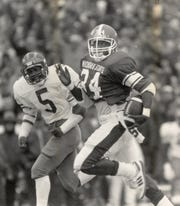 Lorenzo White of Michigan State rushed for 185 yards against Michigan in 1987.