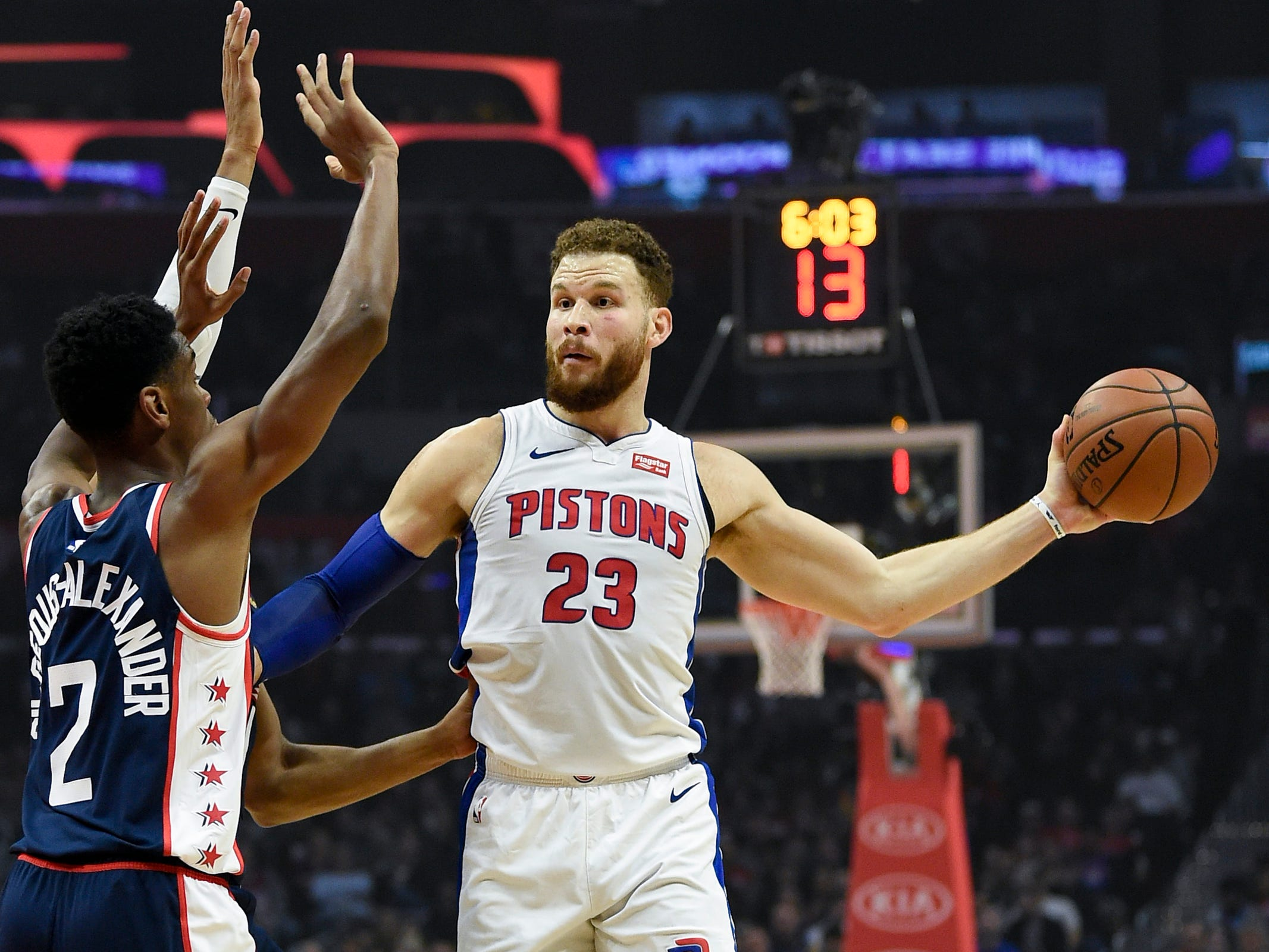 Detroit Pistons forward Blake Griffin looks to pass while Los Angeles Clippers guard Shai Gilgeous-Alexander defends during the first quarter at Staples Center, Jan. 12, 2019.