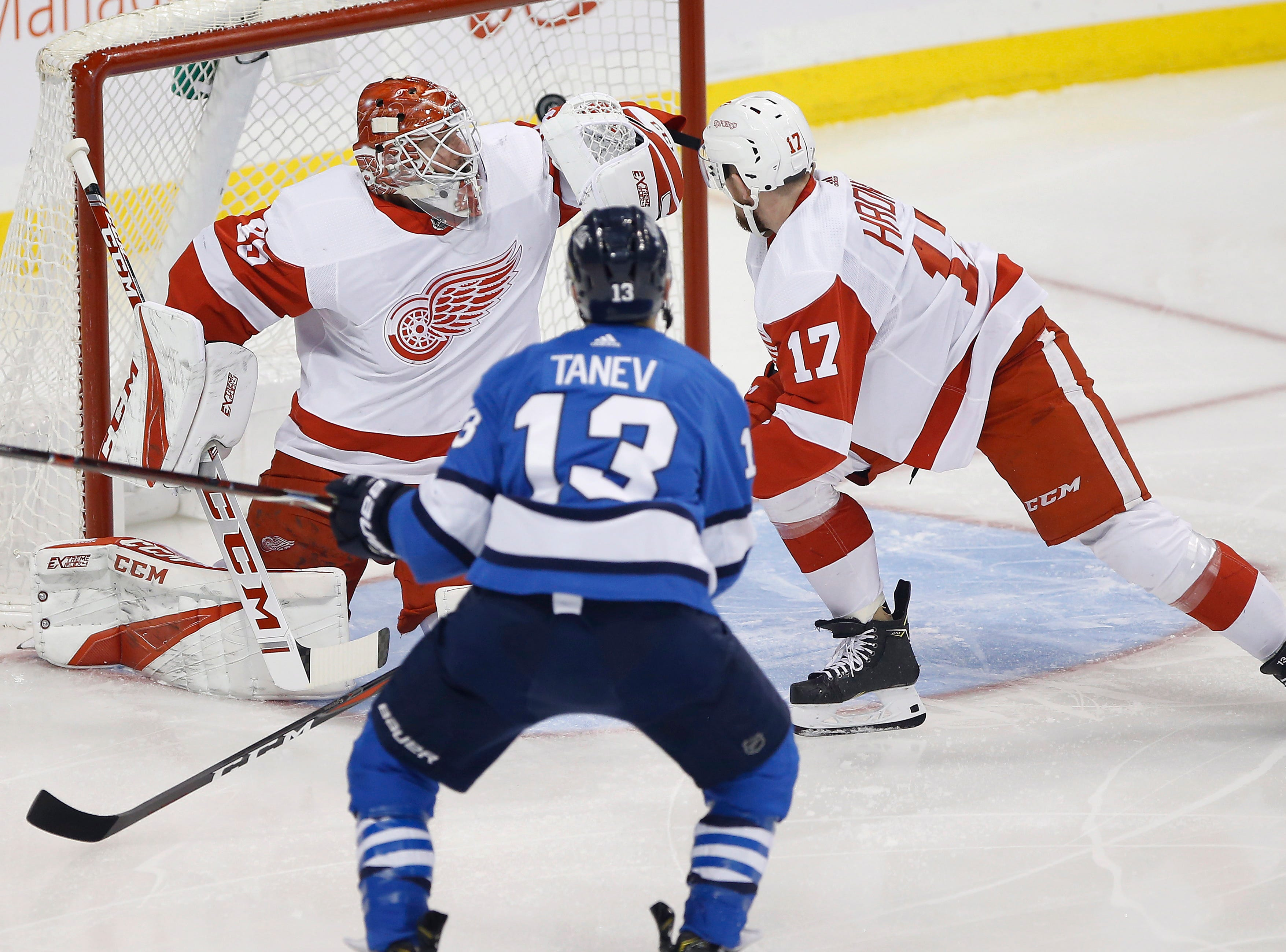 Winnipeg Jets' Brandon Tanev (13) scores on Detroit Red Wings goaltender Jonathan Bernier (45) as Filip Hronek (17) defends in the opening minute of an NHL hockey game Friday, Jan. 11, 2019, in Winnipeg, Manitoba. The Jets defeated the Red Wings 4-2.