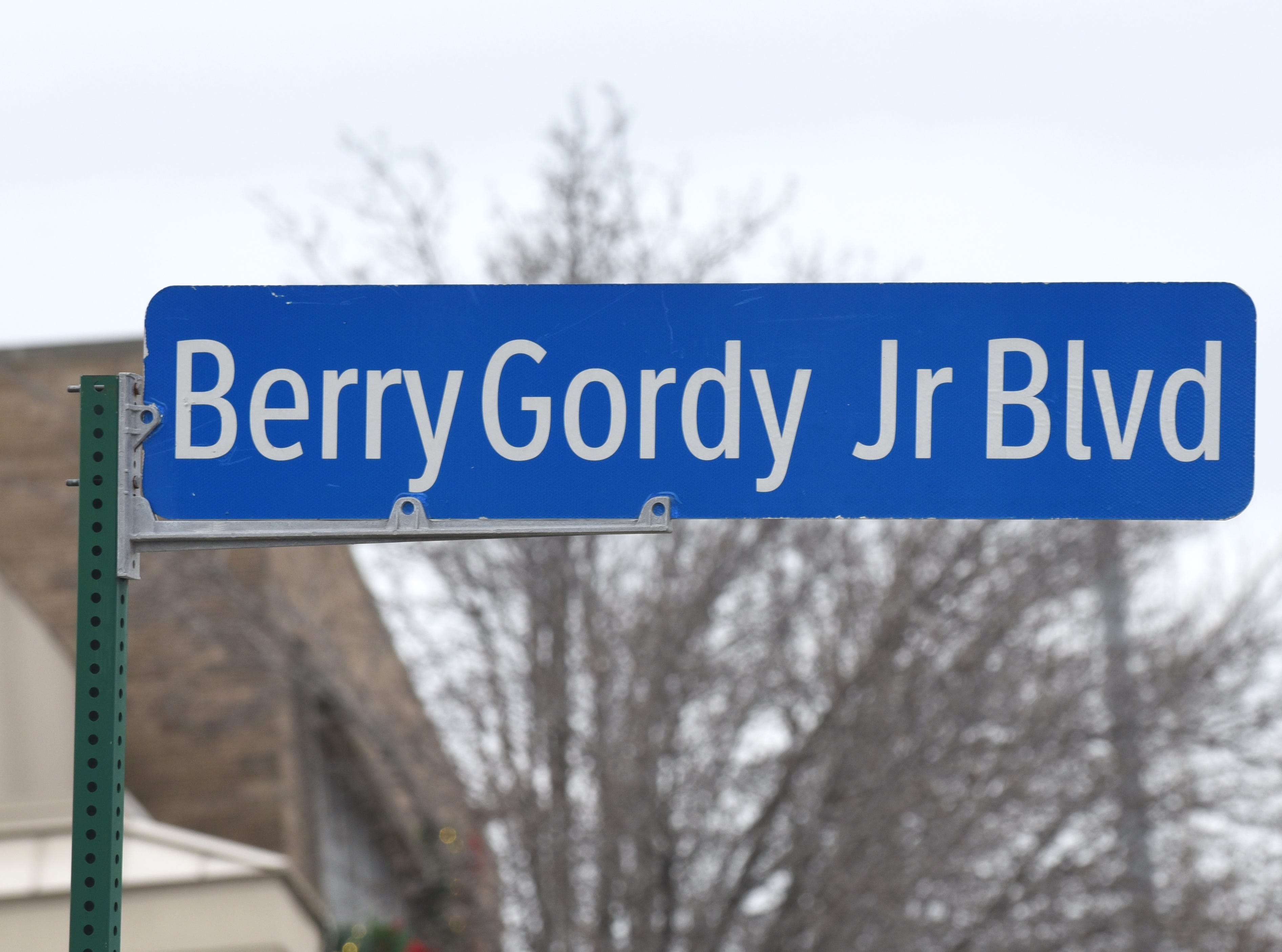 A street sign marks Berry Gordy Jr. Boulevard outside the Motown Museum in Detroit.