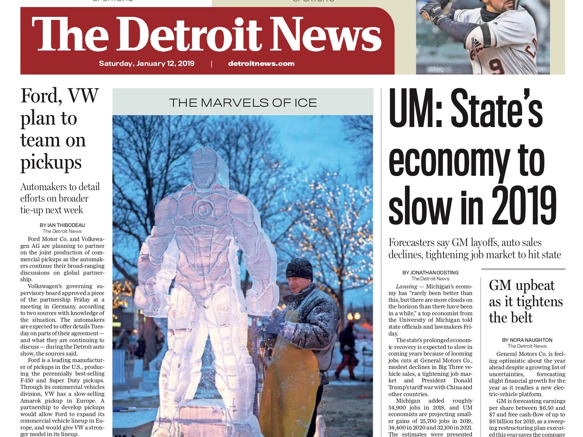 The front page of the Detroit News on January 12, 2019.