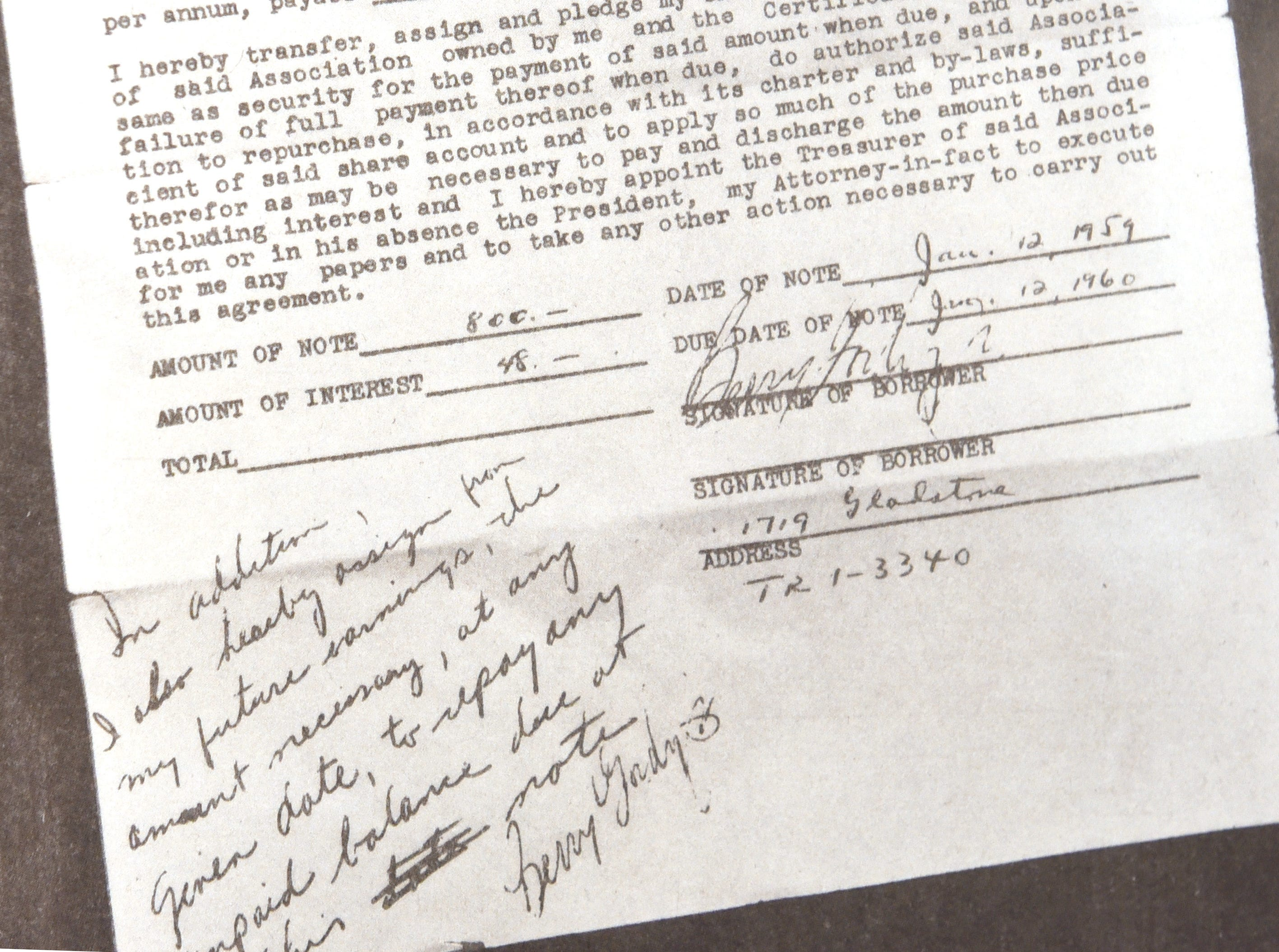 Hand written notes are seen on a document on display at the Motown Museum in honor of its 60th anniversary.