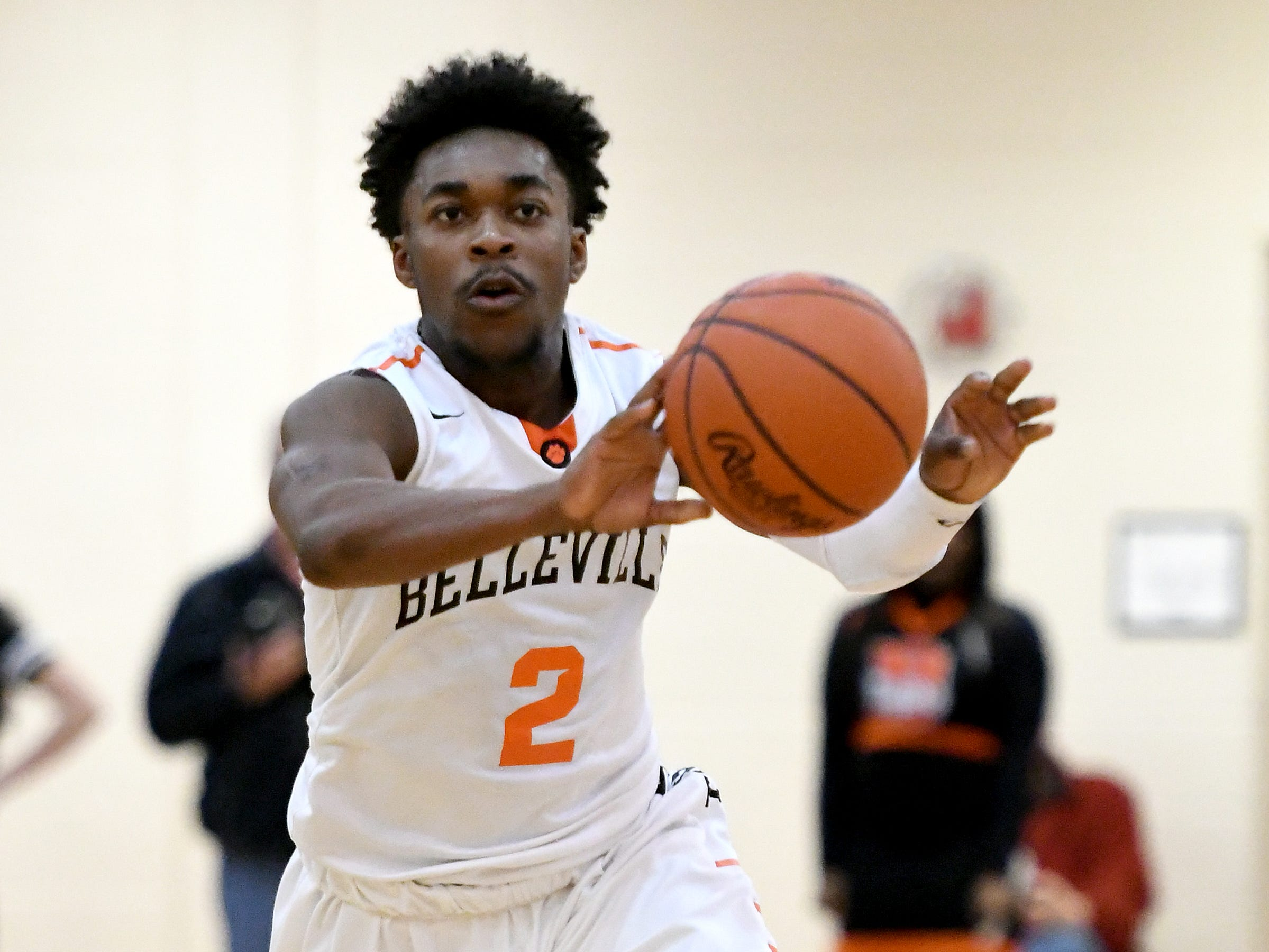 Belleville High School's Lorenzo Wright in action during their 81-78 overtime win over John Glenn High School.