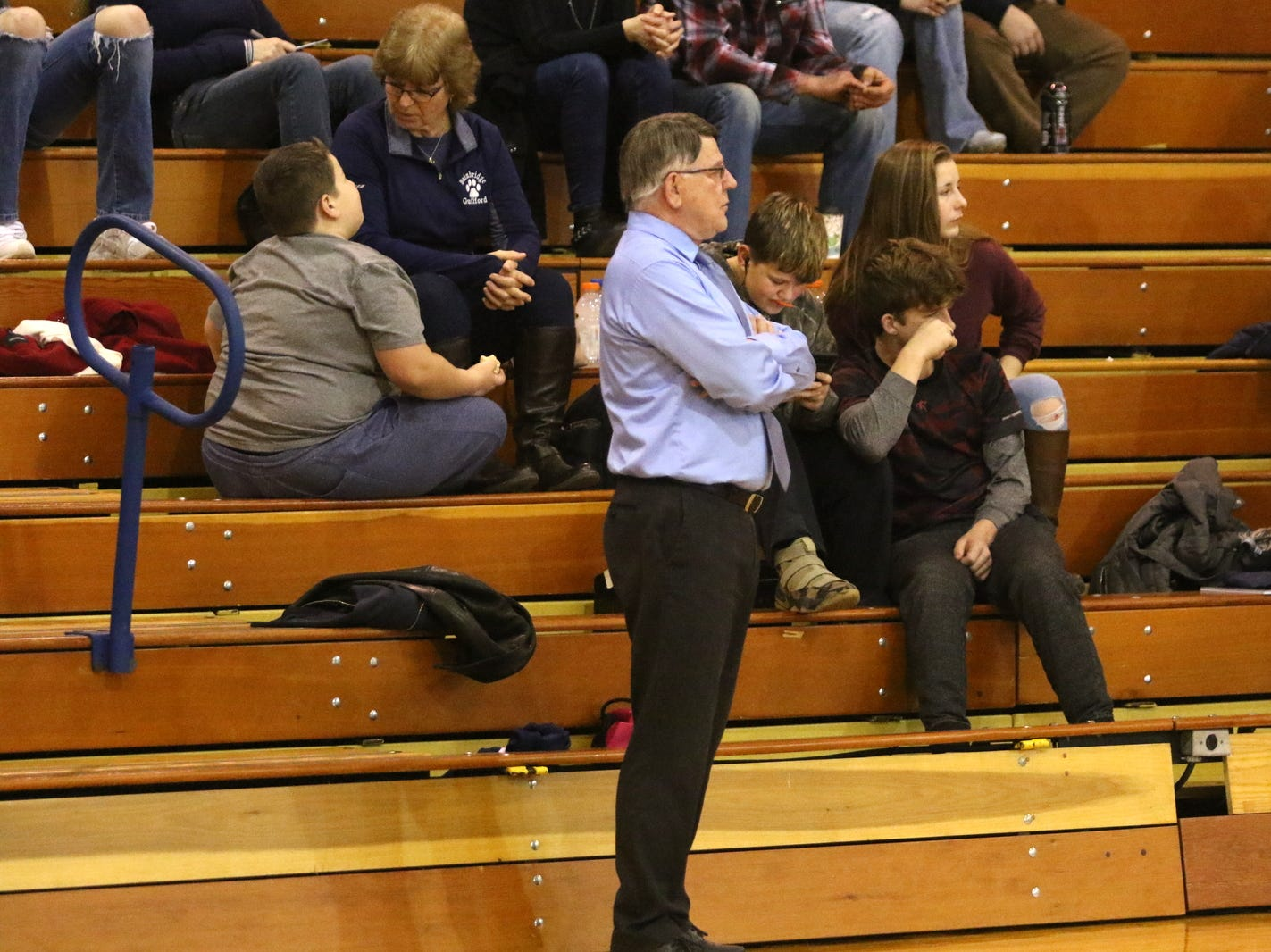 Bob Conway coaches the Bainbridge-Guilford girls basketball team against Elmira Notre Dame on Jan. 12, 2019 in Southport.