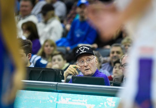 """Aces super fan """"Purple Paul"""" Werner watches action on the floor during Saturday's game with Indiana State at the Ford Center, January 12, 2019."""