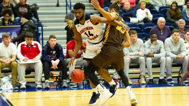 Emmanuel Little had a double-double of 15 points and 10 rebounds during USI's 78-56 win over Quincy on Saturday.