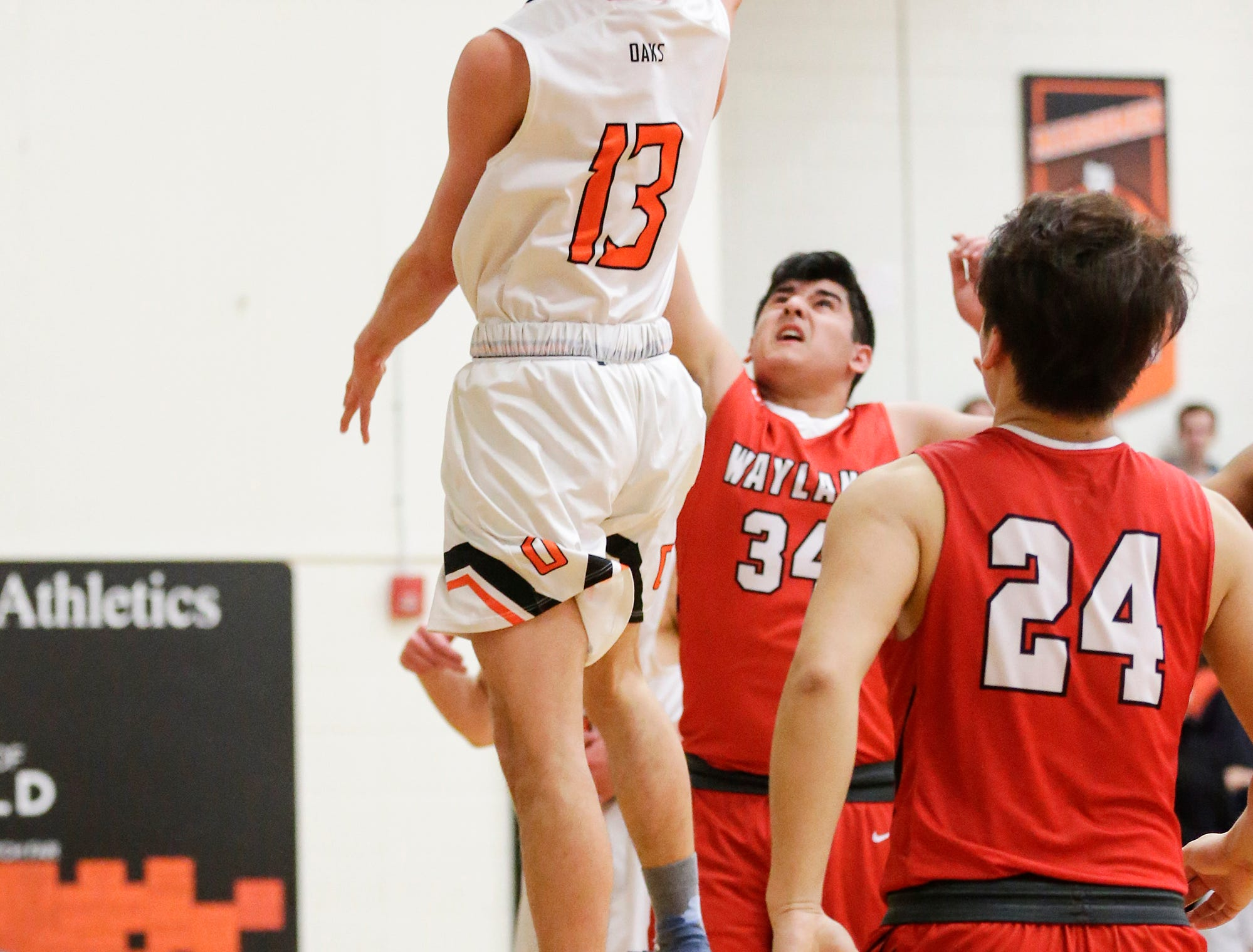Oakfield High School boys basketball's Tyler Streeter attempts a basket against Wayland Academy January 11, 2019 during their game in Oakfield. Oakfield won the game 56-48. Doug Raflik/USA TODAY NETWORK-Wisconsin
