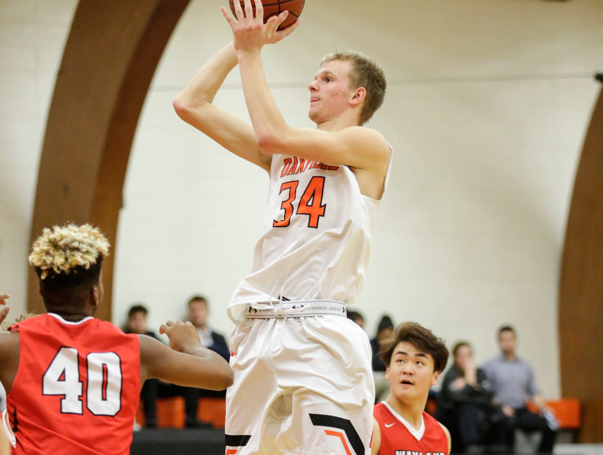 Oakfield High School boys basketball's Jaxson Hofman attempts a basket against Wayland Academy January 11, 2019 during their game in Oakfield. Oakfield won the game 56-48. Doug Raflik/USA TODAY NETWORK-Wisconsin