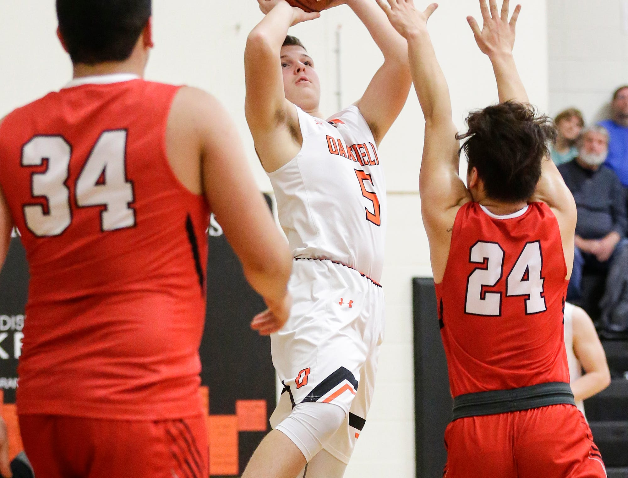 Oakfield High School boys basketball's Blake Bass shoots a basket against Wayland Academy January 11, 2019 during their game in Oakfield. Oakfield won the game 56-48. Doug Raflik/USA TODAY NETWORK-Wisconsin