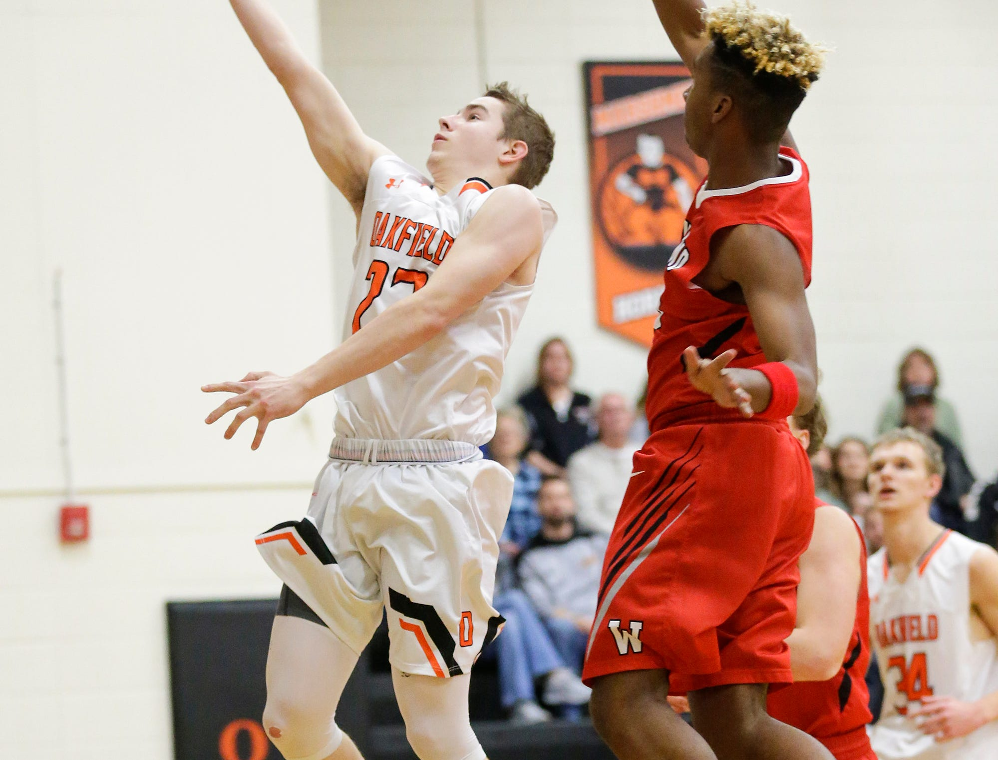 Oakfield High School boys basketball's Max Margelofsky goes in for a lay-up against Wayland Academy January 11, 2019 during their game in Oakfield. Oakfield won the game 56-48. Doug Raflik/USA TODAY NETWORK-Wisconsin