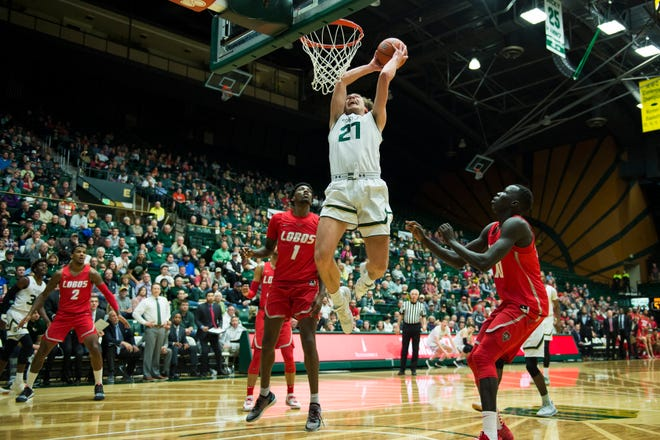 Logan Ryan, shown dunking during a Jan. 12 win over New Mexico, and the CSU men's basketball team will play a home game at 7 p.m. Tuesday against Boise State at Moby Arena. The Rams are 3-0 at home this season in Mountain West play.