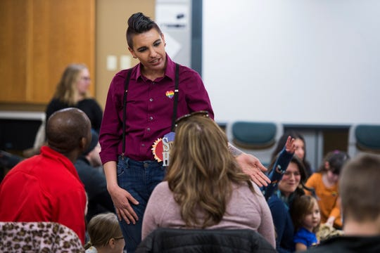 Drag king Simon Hyperion meets with ticket-holders before Drag Queen Story Hour on Saturday, Jan. 12, 2019, at the Clearview Public Library in Windsor, Colo. Drag Queen Story Hour is a program put on by SPLASH, an LGBTQ+ youth outreach organization.