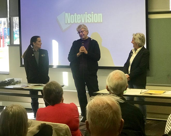 Reps. Jeni Arndt and Cathy Kipp and Sen. Joann Ginal at their first town hall meeting of the legislative session on Jan. 12, 2019.