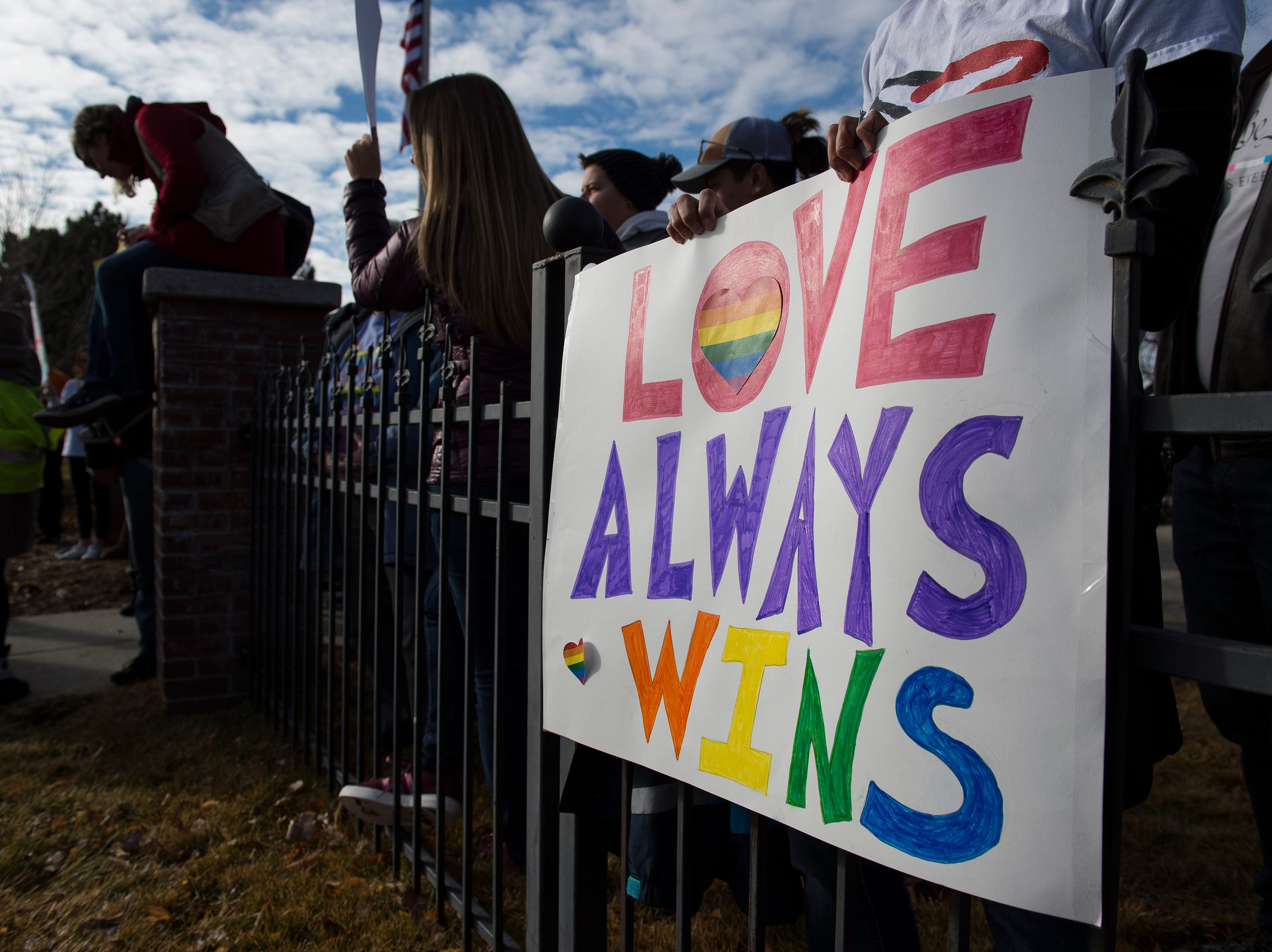 Counterprotesters gather outside the library before Drag Queen Story Hour on Saturday, Jan. 12, 2019, at the Clearview Public Library in Windsor, Colo. Drag Queen Story Hour is a program put on by SPLASH, an LGBTQ+ youth outreach organization.