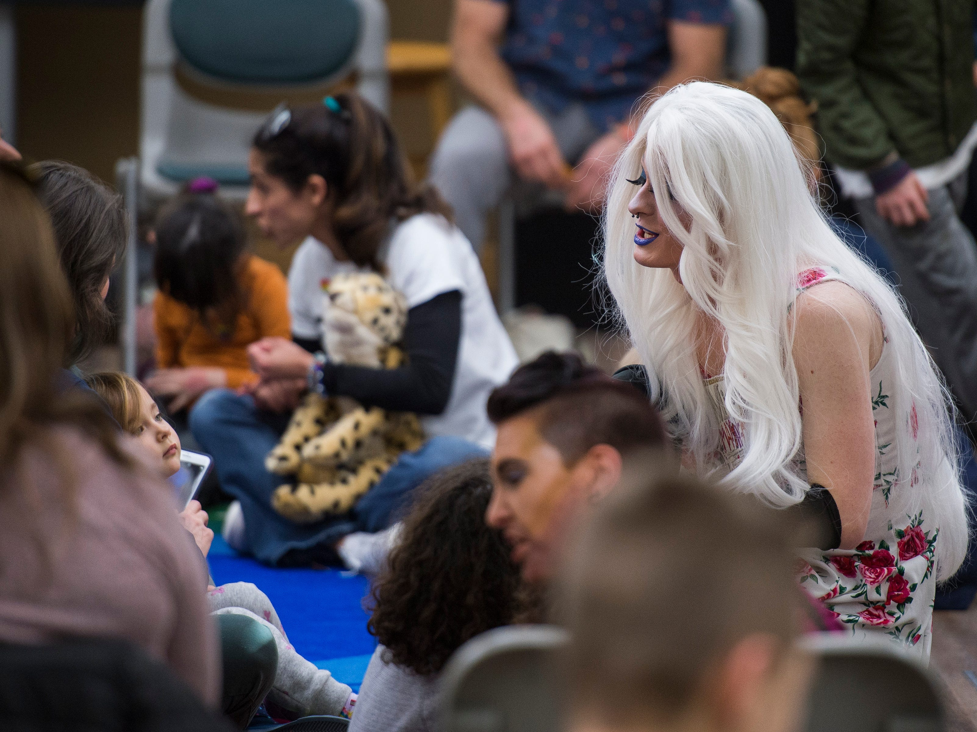 Drag queen Miss Mayyhem meets with ticket-holders before Drag Queen Story Hour on Saturday, Jan. 12, 2019, at the Clearview Public Library in Windsor, Colo. Drag Queen Story Hour is a program put on by SPLASH, an LGBTQ+ youth outreach organization.