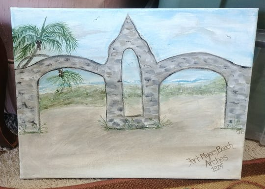 A painting of the original Fort Myers Beach arches is for sale at Bridgette's Place to benefit the Raise Fort Myers Beach Arches group.