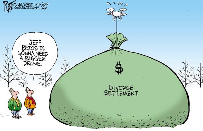 Bruce Plante Cartoon: Jeff Bezos, Amazon, MacKenzie S. Bezos, divorce, Plante 20190113