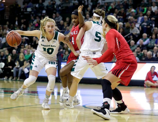 UWGB freshman guard Anna Brecht drives against the Youngstown State on Saturday.