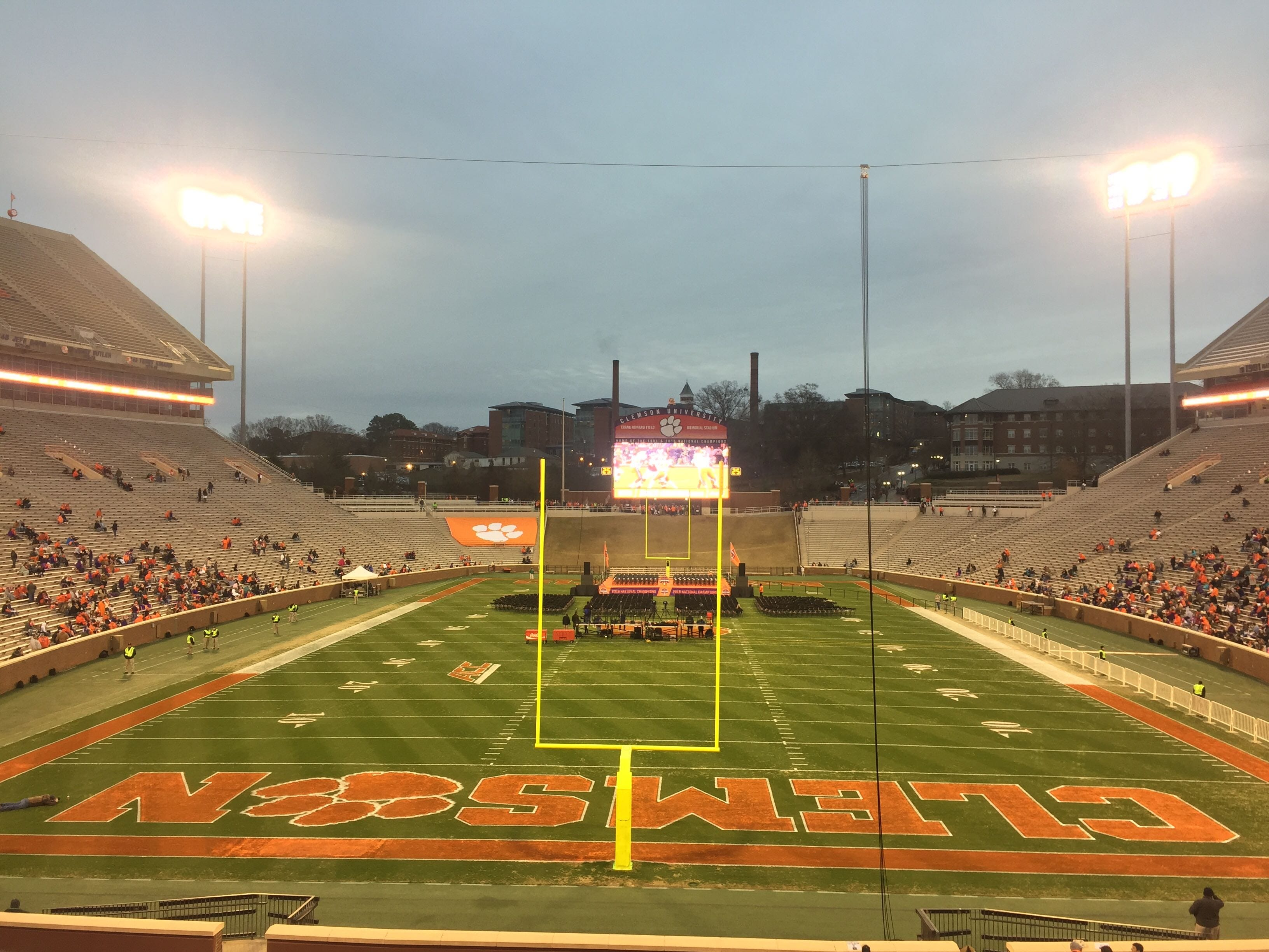 An early look at Clemson Memorial Stadium where some fans have gathered early to watch a replay of the National Championship game.