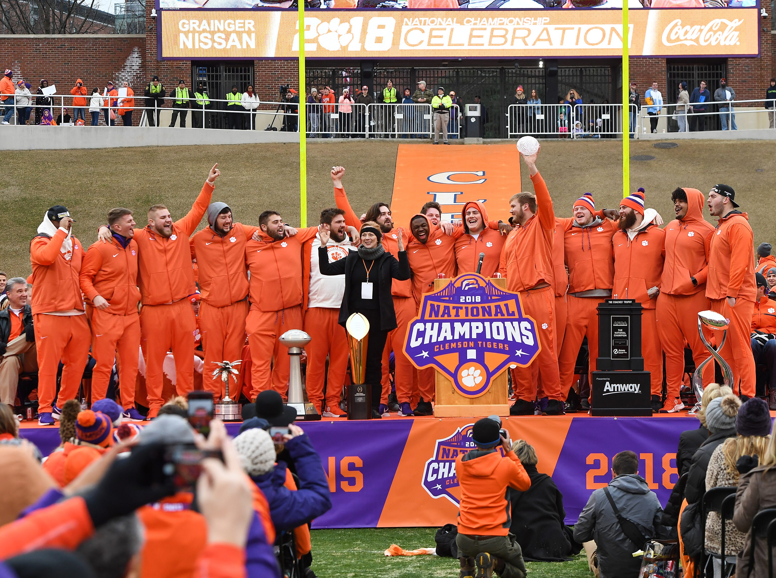 Clemson offensive linemen pose for a photo during the Tigers National Championship celebration Saturday, January 12, 2019 at Clemson's Memorial Stadium.