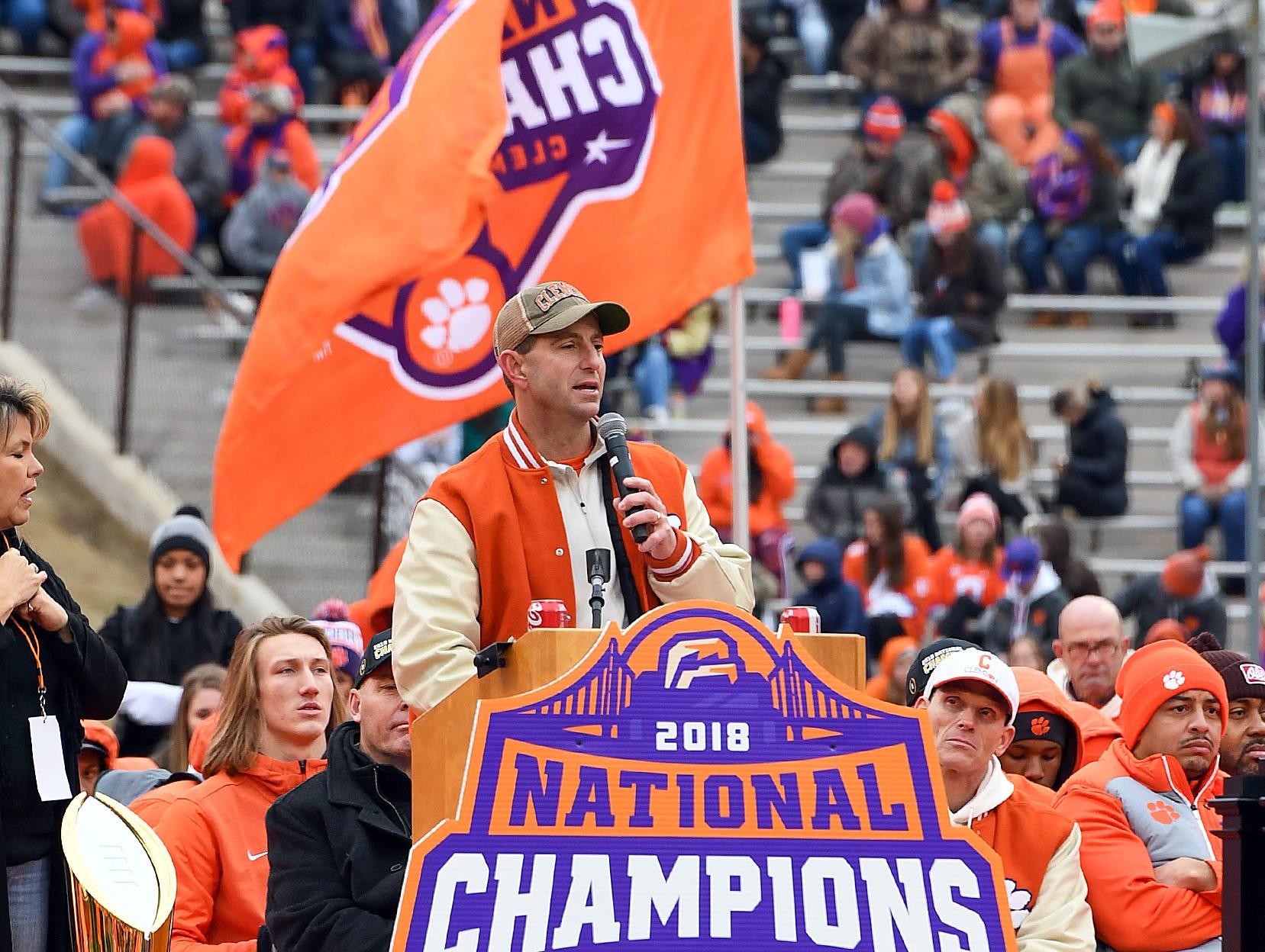 Clemson head coach Dabo Swinney speaks during the Tigers National Championship celebration Saturday, January 12, 2019 at Clemson's Memorial Stadium.