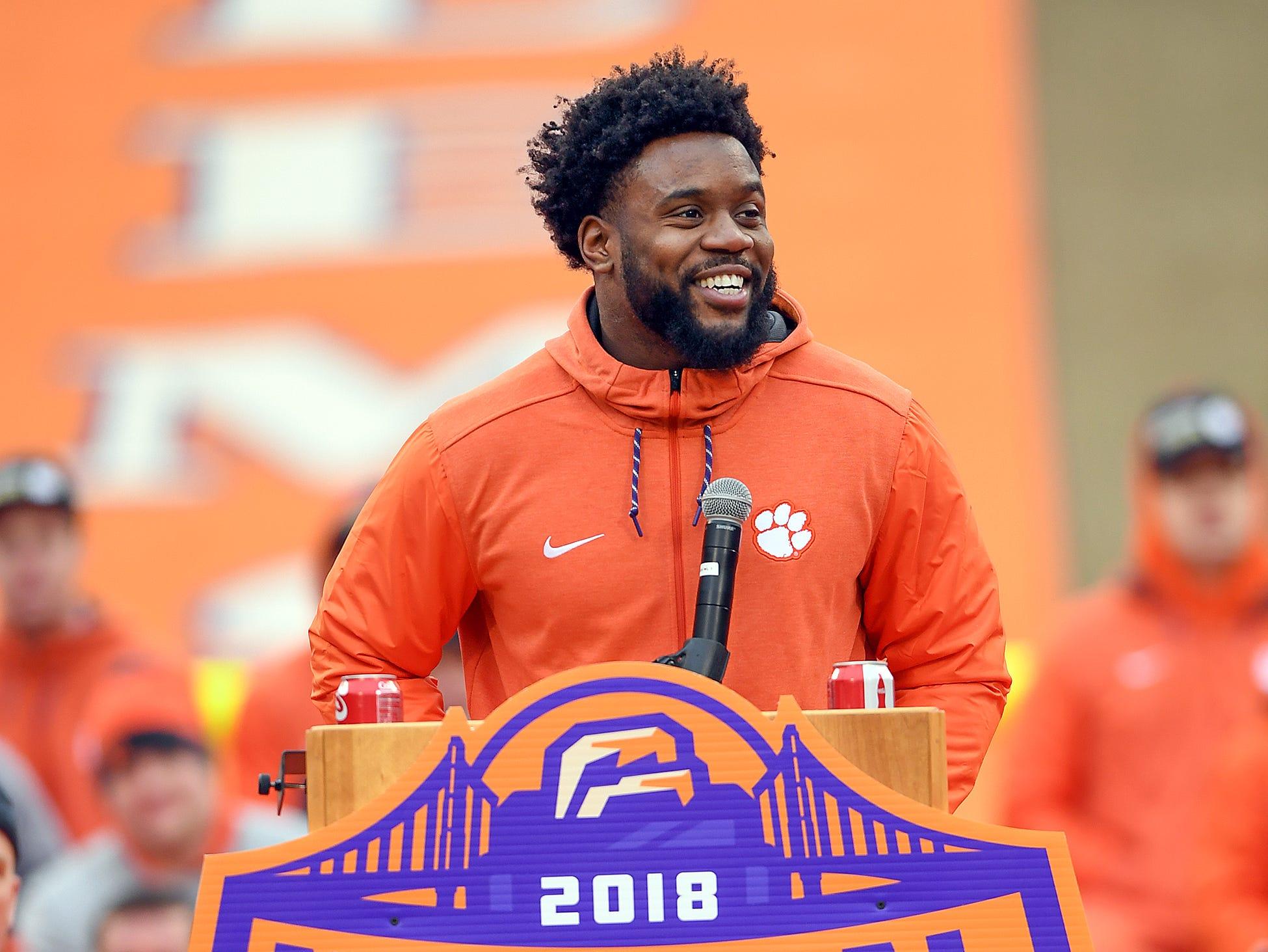 Clemson senior linebacker Kendall Joseph speaks during the Tigers National Championship celebration Saturday, January 12, 2019 at Clemson's Memorial Stadium.